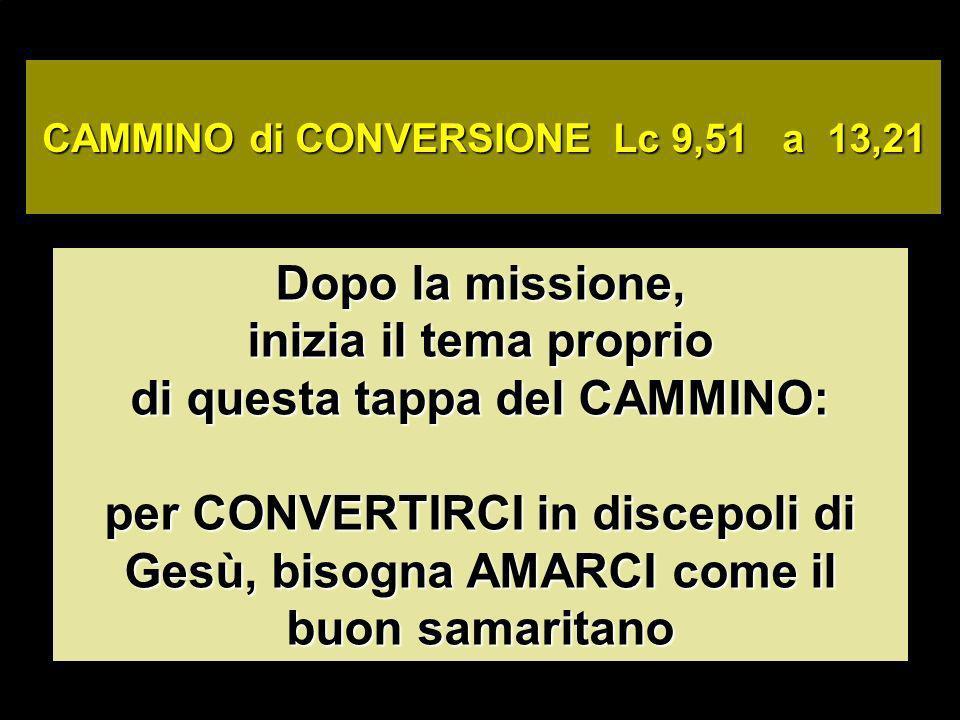 Dopo la missione, inizia il tema proprio di questa tappa del CAMMINO: