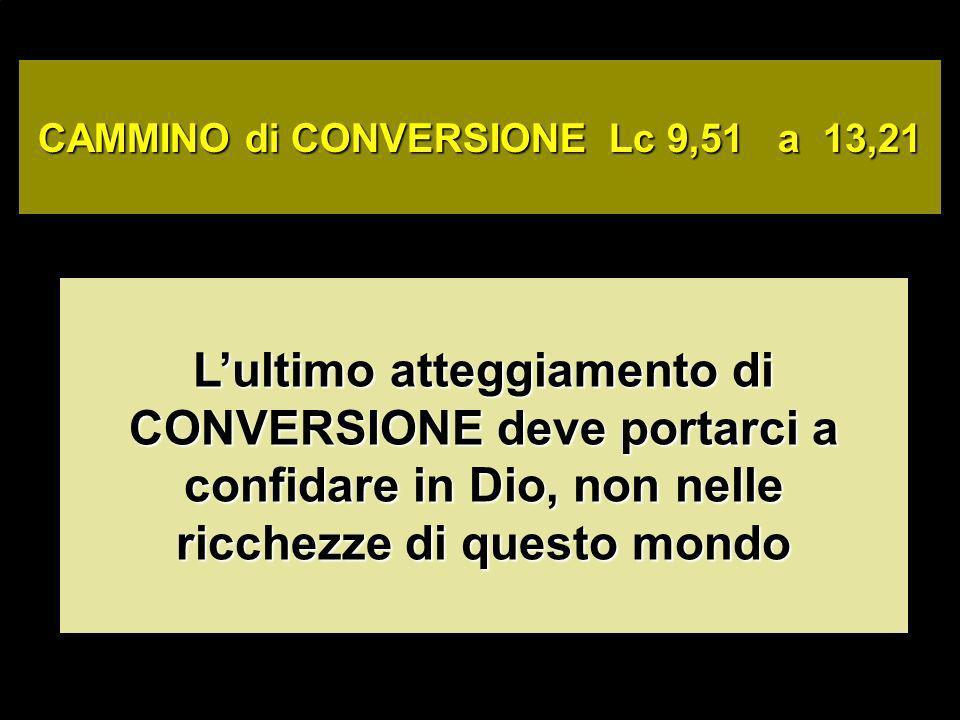 CAMMINO di CONVERSIONE Lc 9,51 a 13,21