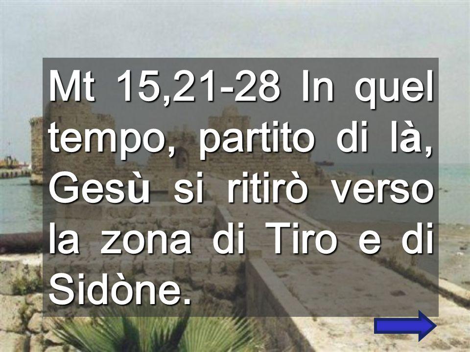 Mt 15,21-28 In quel tempo, partito di là, Gesù si ritirò verso la zona di Tiro e di Sidòne.