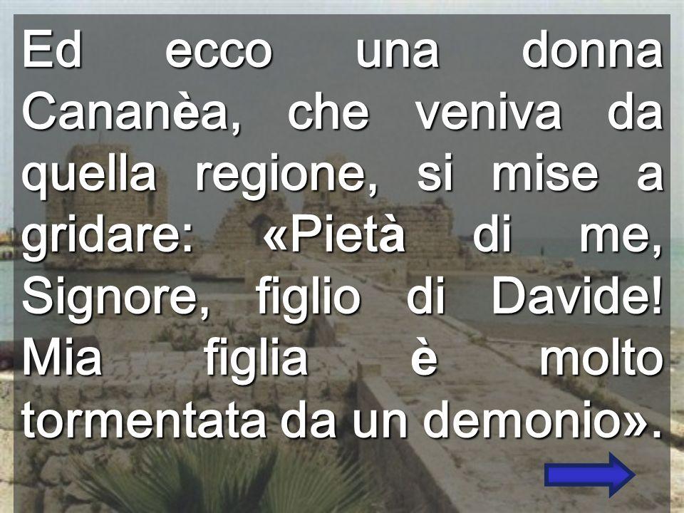 Ed ecco una donna Cananèa, che veniva da quella regione, si mise a gridare: «Pietà di me, Signore, figlio di Davide.