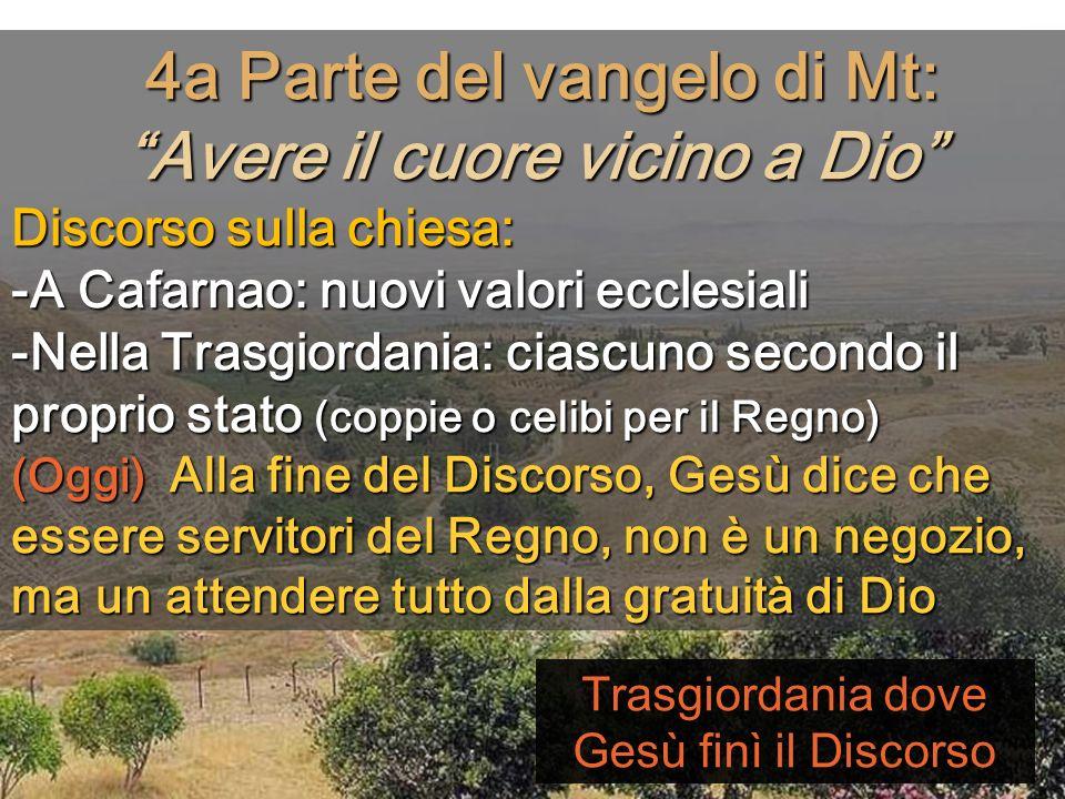 4a Parte del vangelo di Mt: Avere il cuore vicino a Dio
