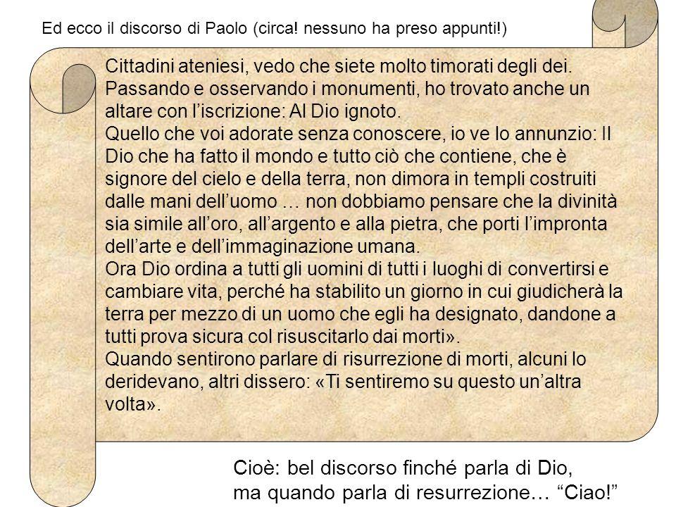Ed ecco il discorso di Paolo (circa! nessuno ha preso appunti!)