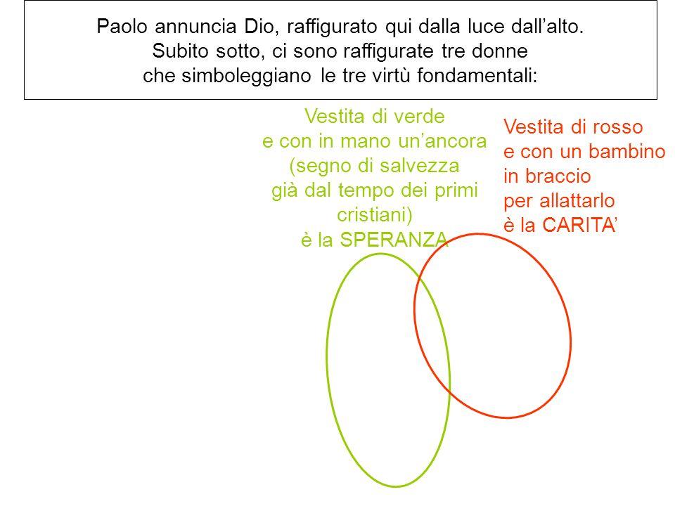 Paolo annuncia Dio, raffigurato qui dalla luce dall'alto.