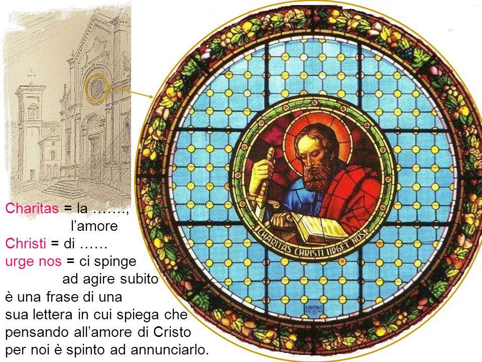 Stessi elementi nel rosone della chiesa di San Paolo di Ravone, con in più la scritta: