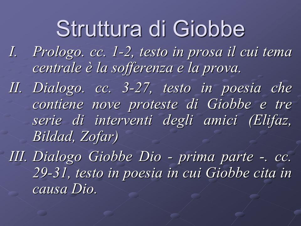 Struttura di Giobbe Prologo. cc. 1-2, testo in prosa il cui tema centrale è la sofferenza e la prova.