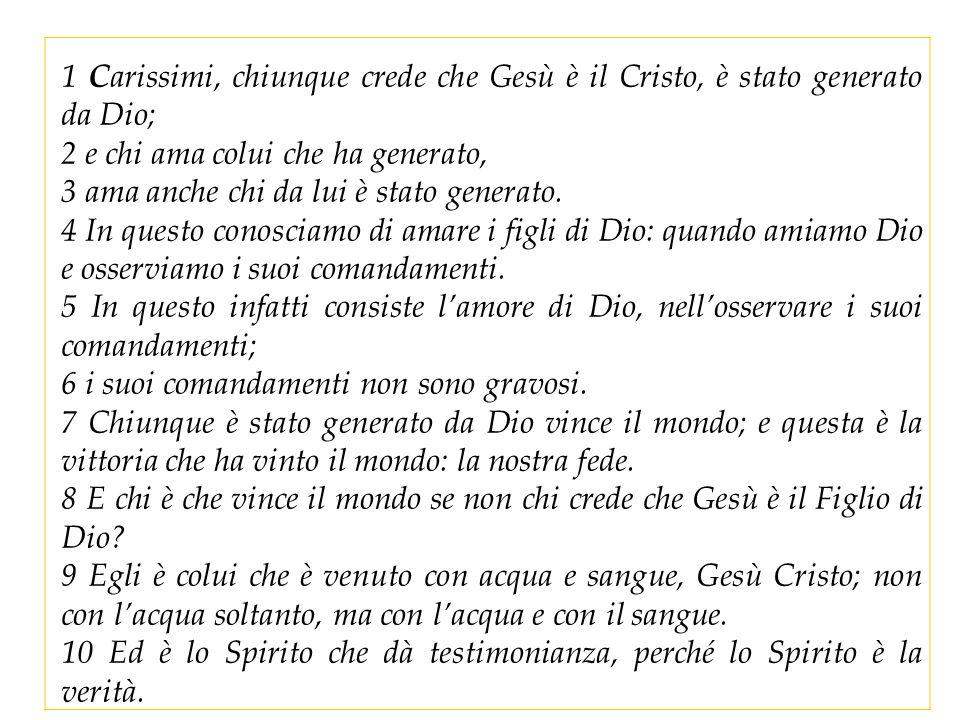 1 Carissimi, chiunque crede che Gesù è il Cristo, è stato generato da Dio;