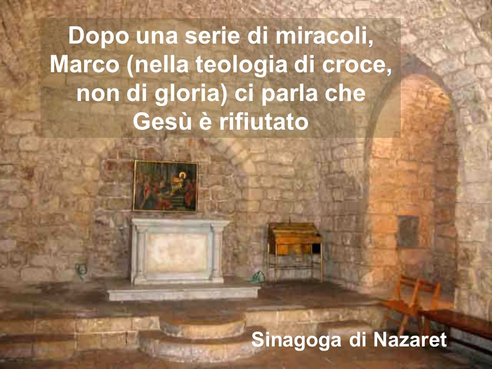 Dopo una serie di miracoli, Marco (nella teologia di croce, non di gloria) ci parla che