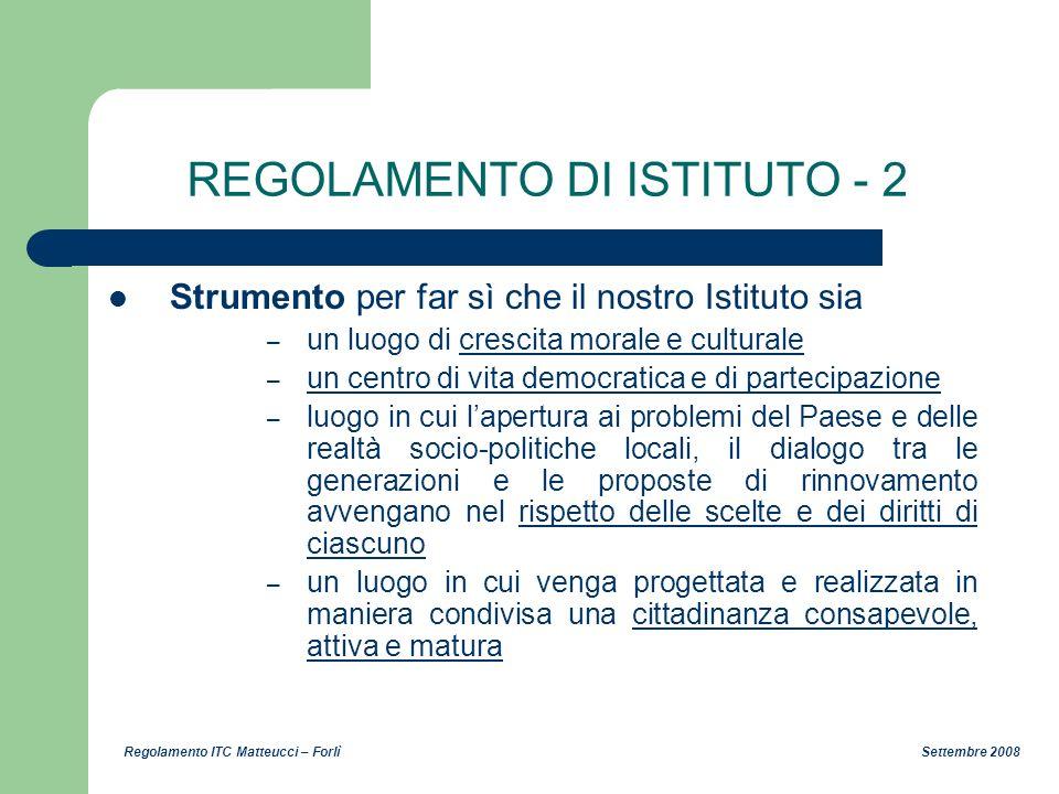 REGOLAMENTO DI ISTITUTO - 2