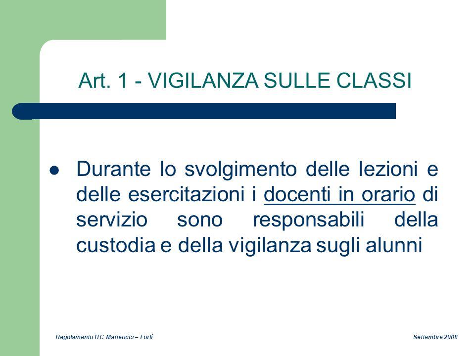 Art. 1 - VIGILANZA SULLE CLASSI