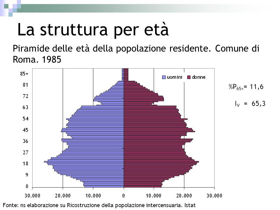 La struttura per età Piramide delle età della popolazione residente. Comune di Roma. 1985. %P65+= 11,6.