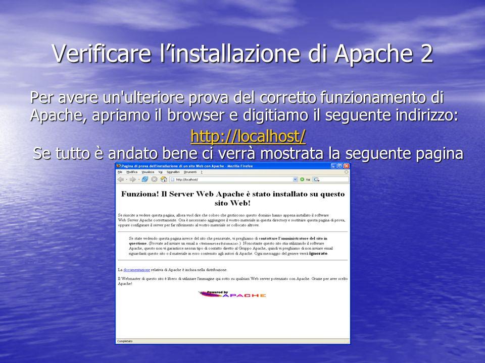 Verificare l'installazione di Apache 2