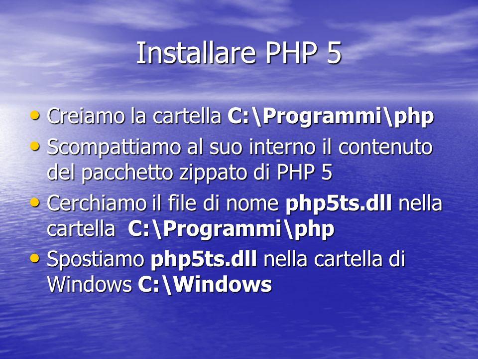 Installare PHP 5 Creiamo la cartella C:\Programmi\php