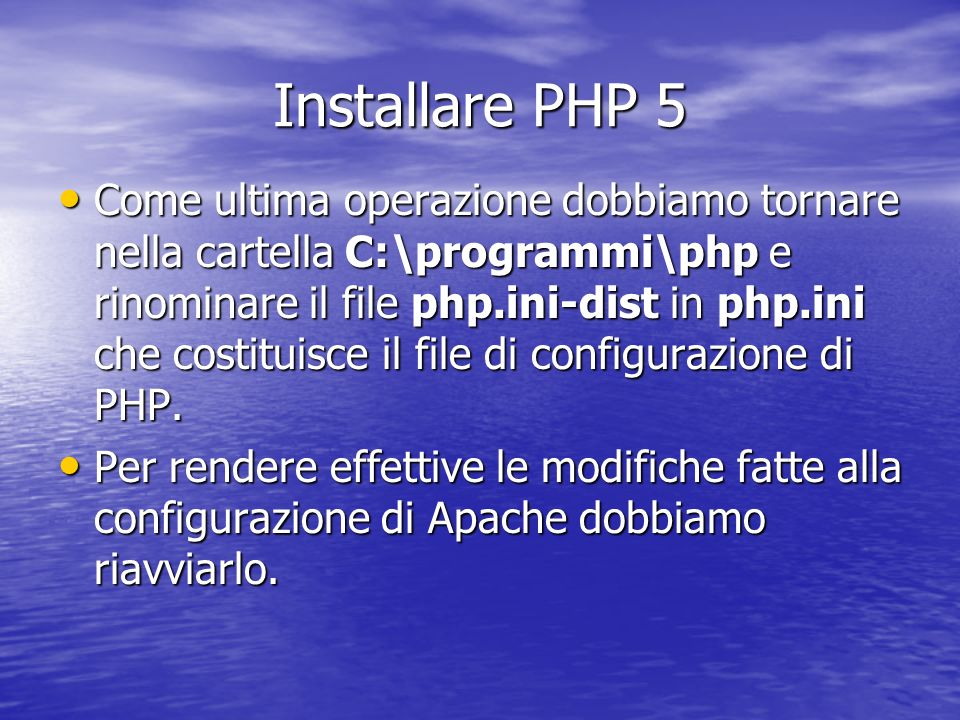 Installare PHP 5