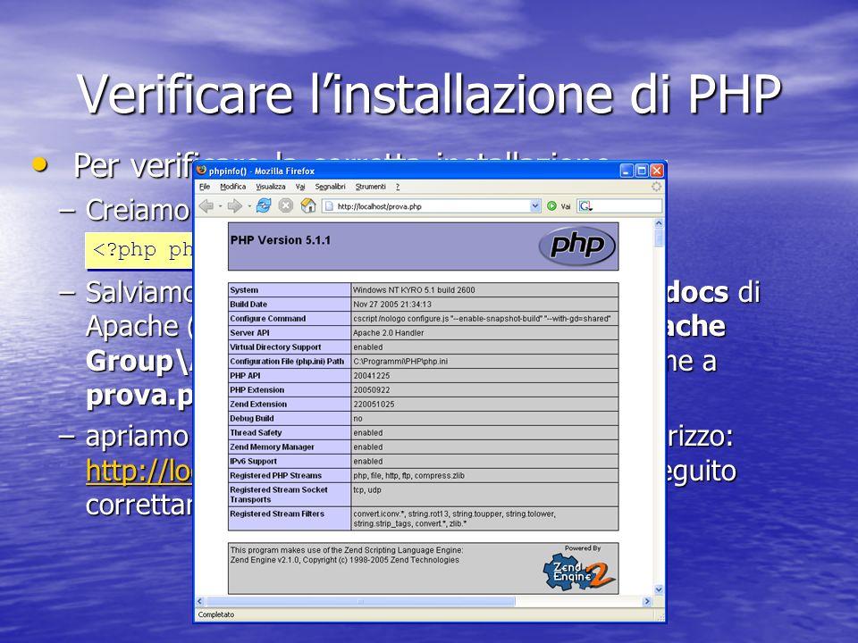 Verificare l'installazione di PHP