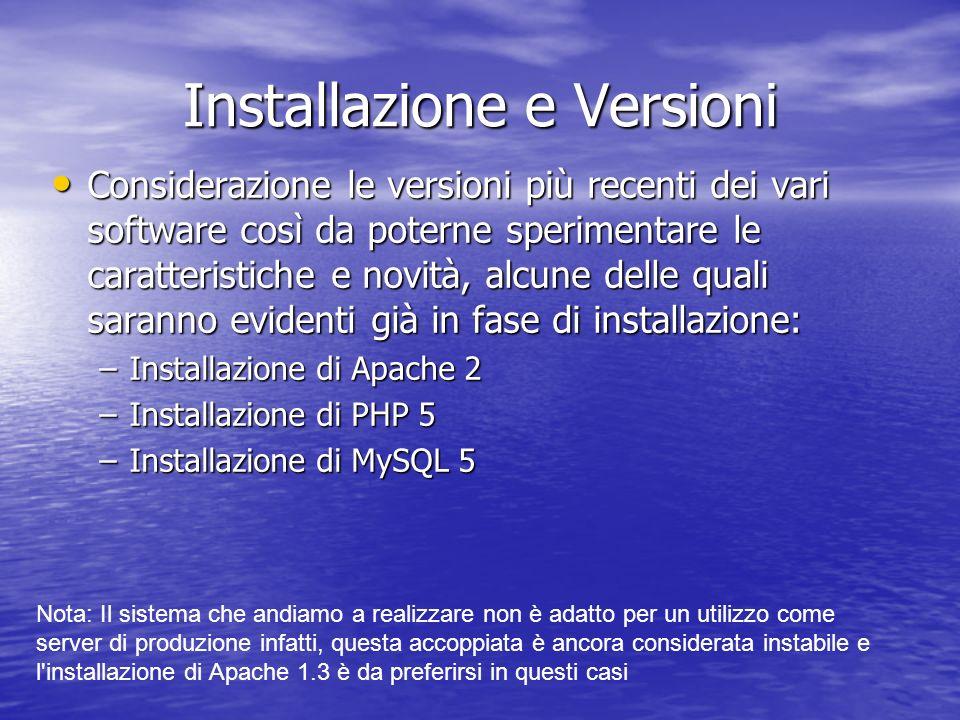 Installazione e Versioni