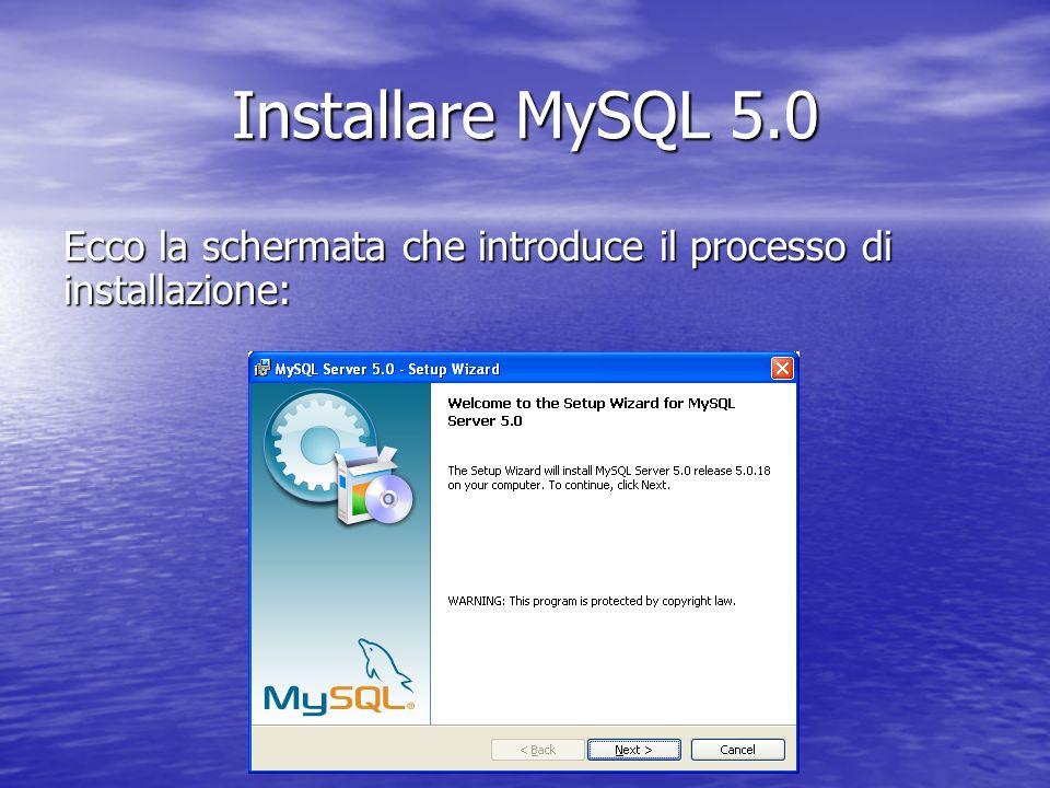 Installare MySQL 5.0 Ecco la schermata che introduce il processo di installazione: