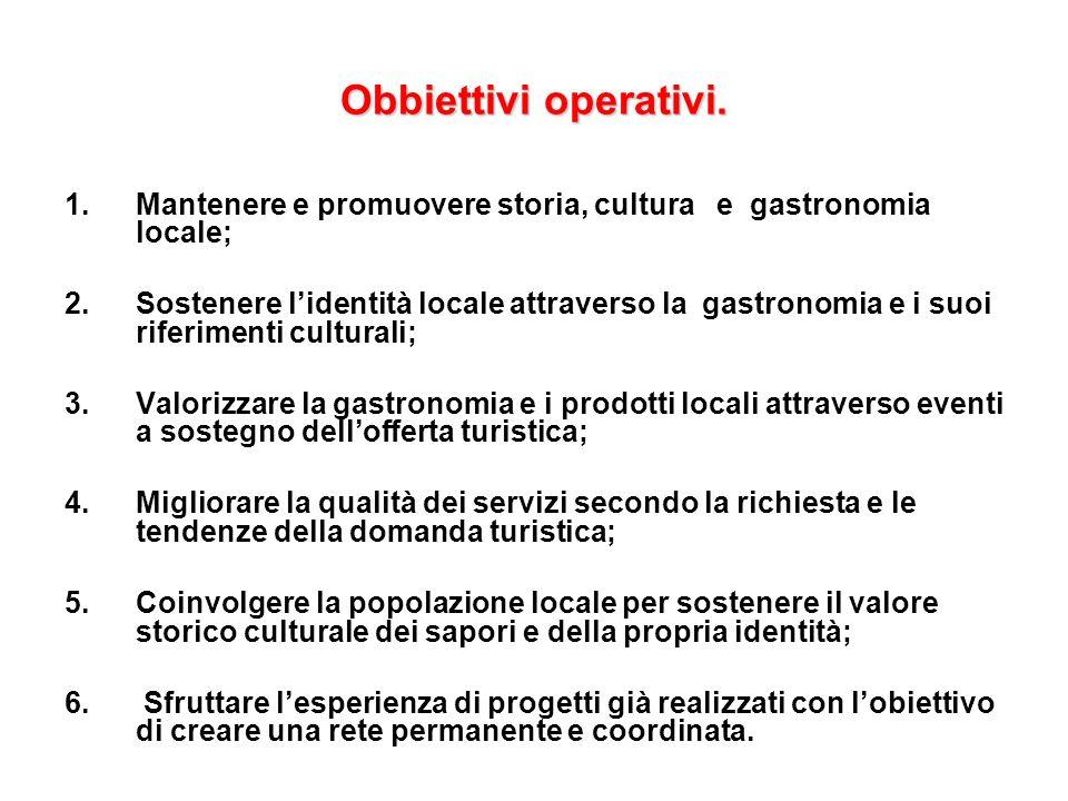 Obbiettivi operativi. Mantenere e promuovere storia, cultura e gastronomia locale;