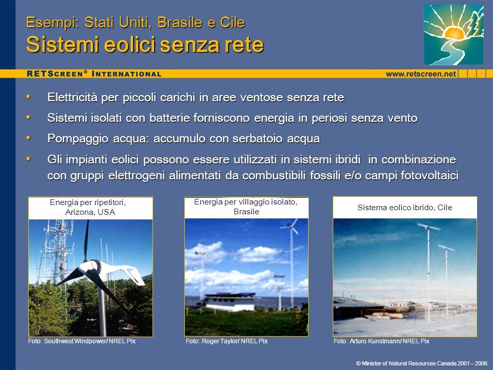 Esempi: Stati Uniti, Brasile e Cile Sistemi eolici senza rete