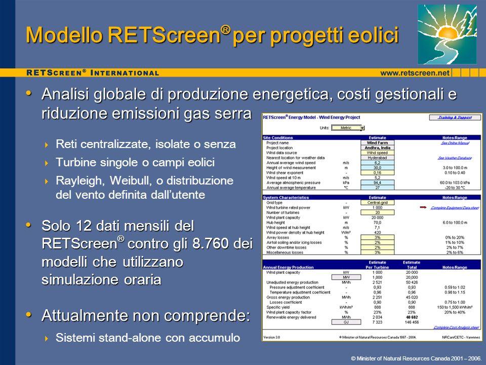 Modello RETScreen® per progetti eolici