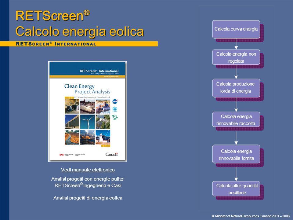 RETScreen® Calcolo energia eolica