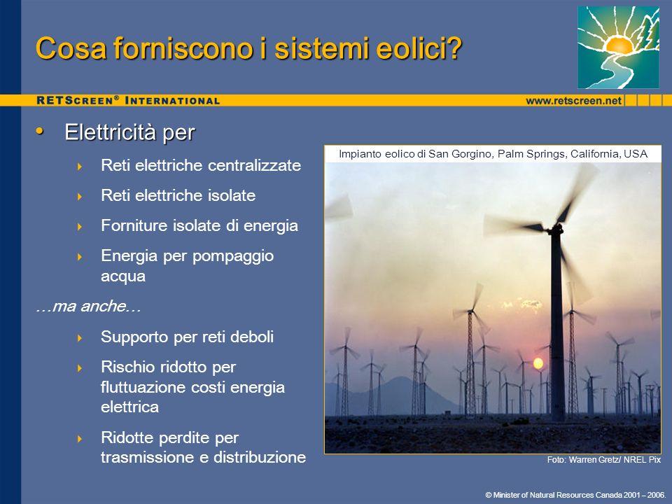 Cosa forniscono i sistemi eolici