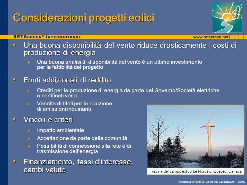 Considerazioni progetti eolici
