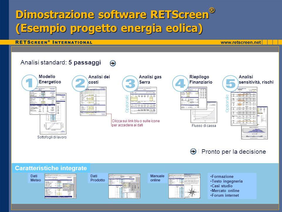 Dimostrazione software RETScreen® (Esempio progetto energia eolica)