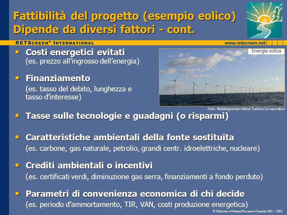 Fattibilità del progetto (esempio eolico) Dipende da diversi fattori - cont.