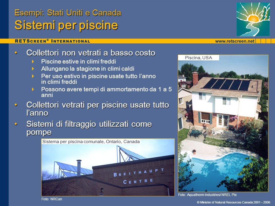 Esempi: Stati Uniti e Canada Sistemi per piscine