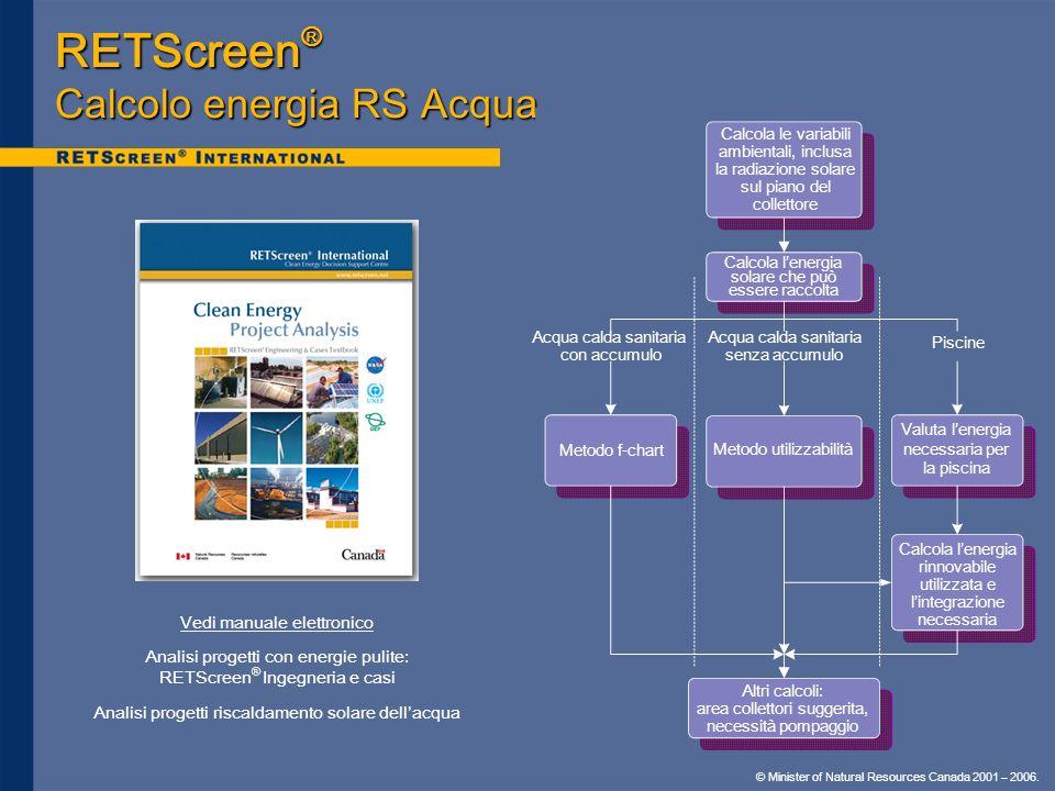 RETScreen® Calcolo energia RS Acqua