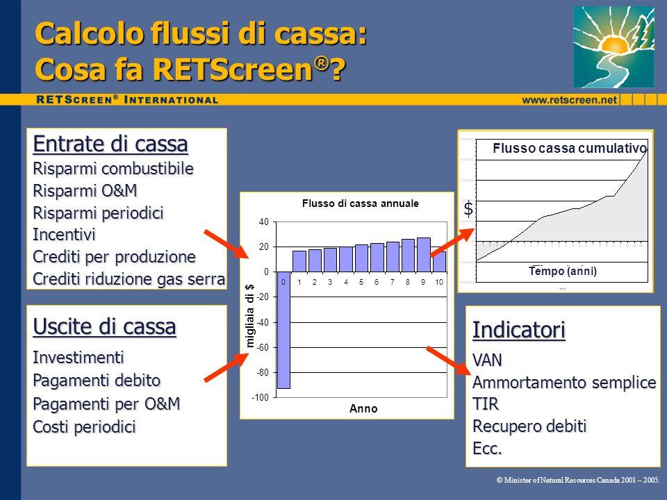 Calcolo flussi di cassa: Cosa fa RETScreen®
