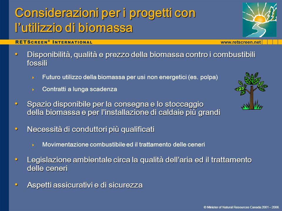 Considerazioni per i progetti con l'utilizzio di biomassa