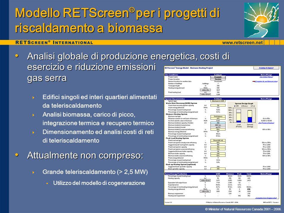 Modello RETScreen® per i progetti di riscaldamento a biomassa