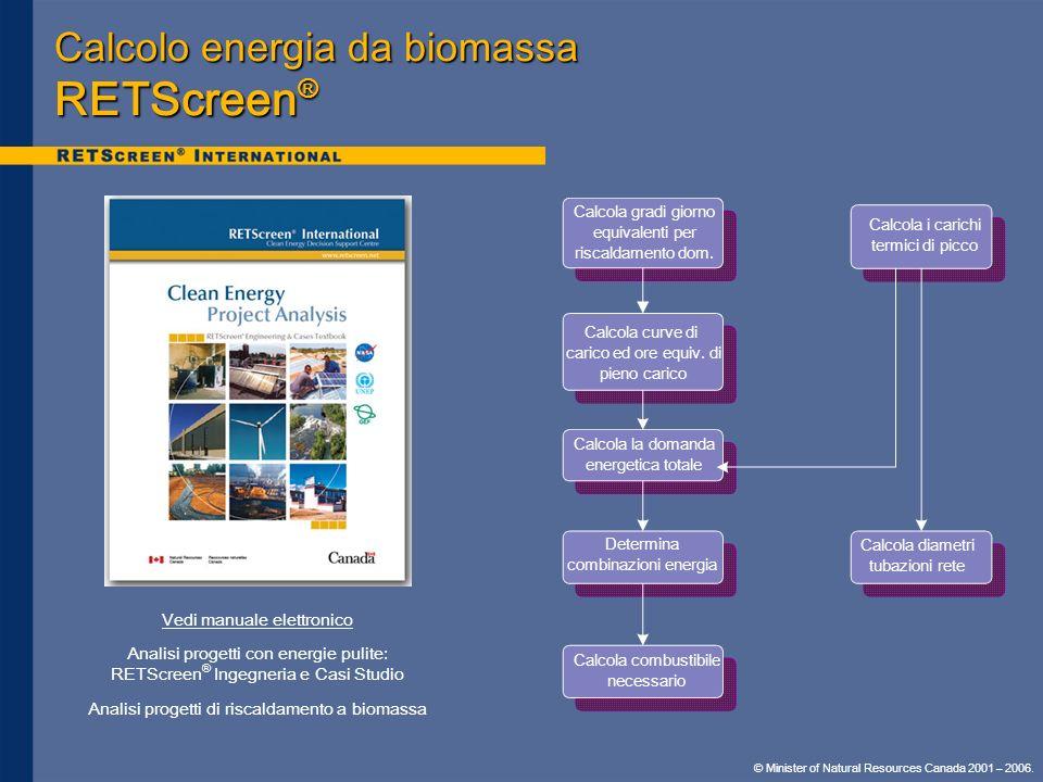Calcolo energia da biomassa RETScreen®