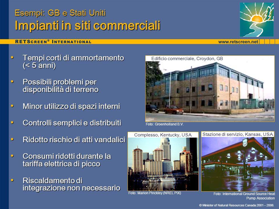 Esempi: GB e Stati Uniti Impianti in siti commerciali
