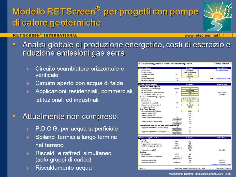 Modello RETScreen® per progetti con pompe di calore geotermiche