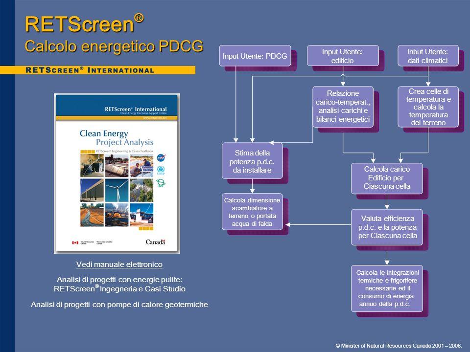 RETScreen® Calcolo energetico PDCG