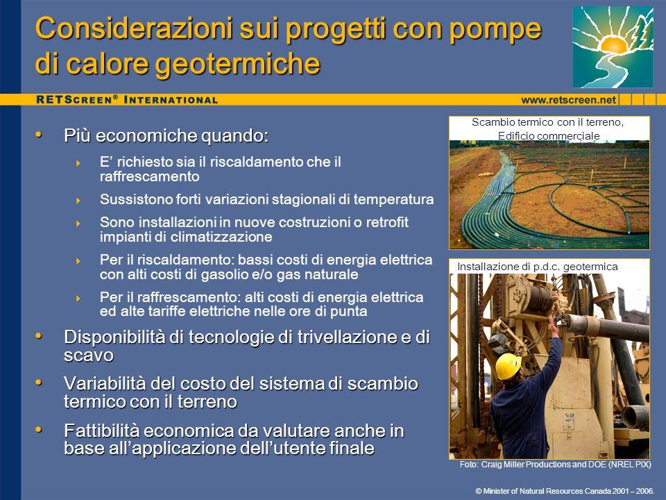Considerazioni sui progetti con pompe di calore geotermiche