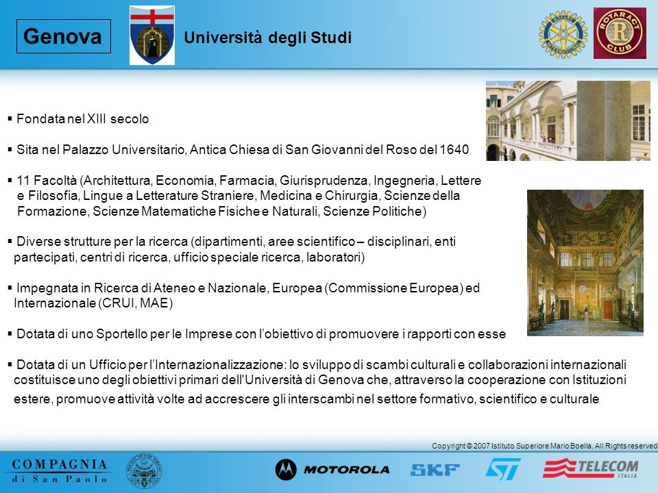 Genova Università degli Studi Fondata nel XIII secolo