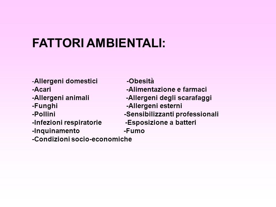 FATTORI AMBIENTALI: Allergeni domestici -Obesità