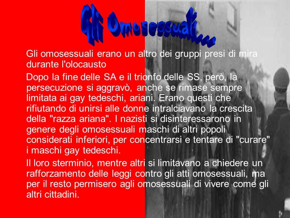 Gli Omosessuali... Gli omosessuali erano un altro dei gruppi presi di mira durante l olocausto.