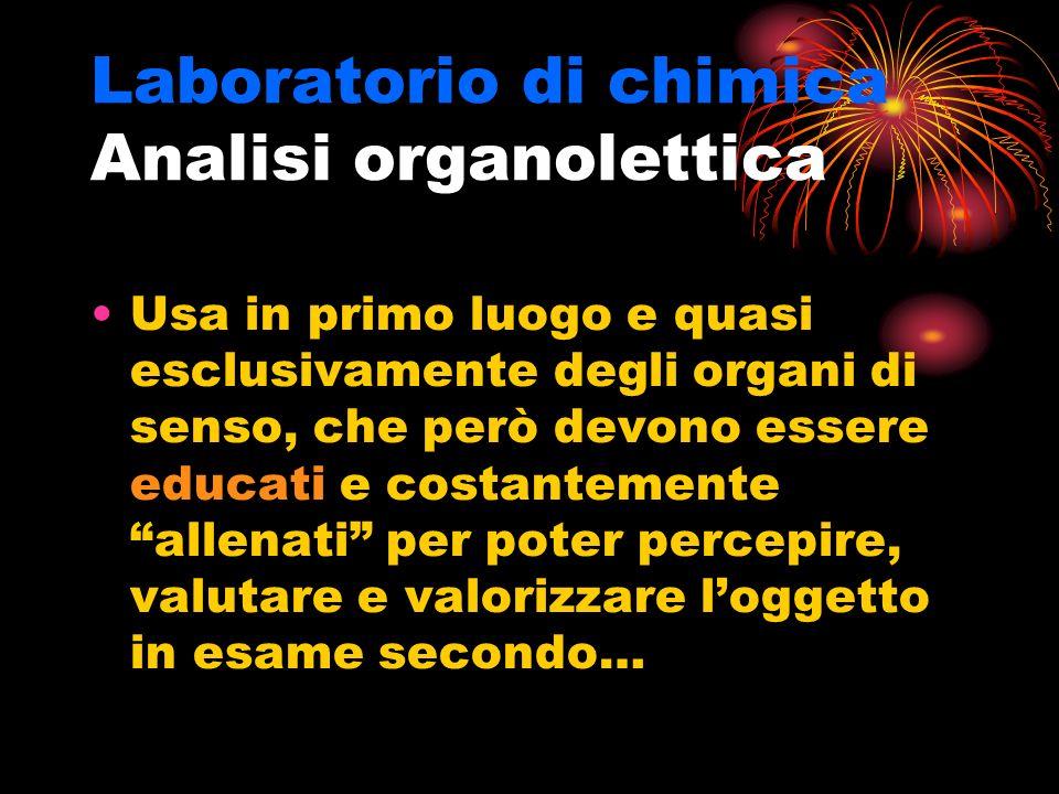 Laboratorio di chimica Analisi organolettica