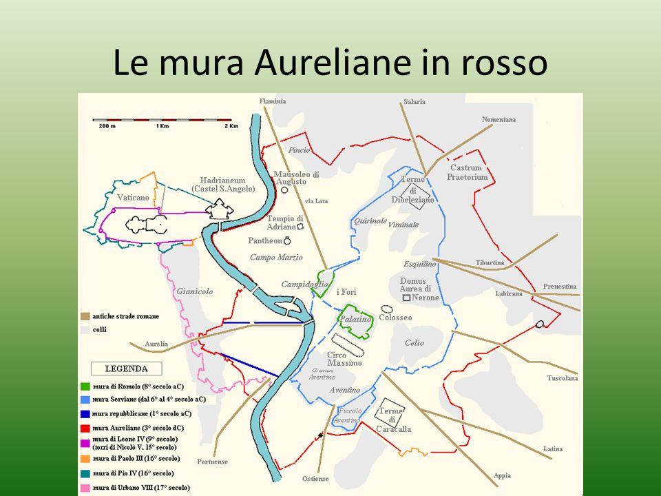 Le mura Aureliane in rosso