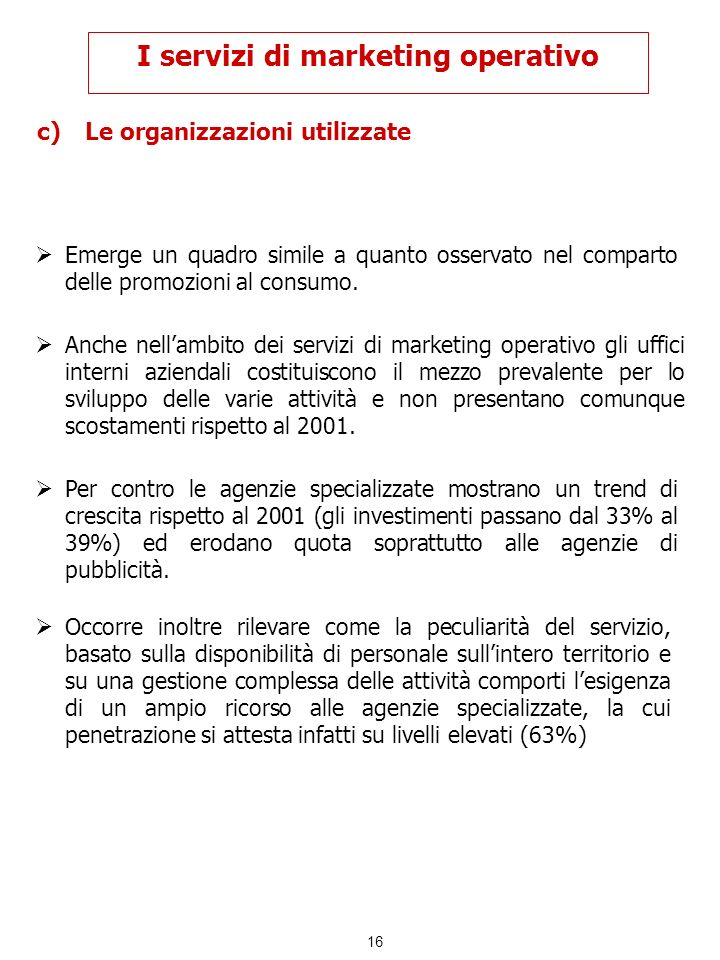 I servizi di marketing operativo