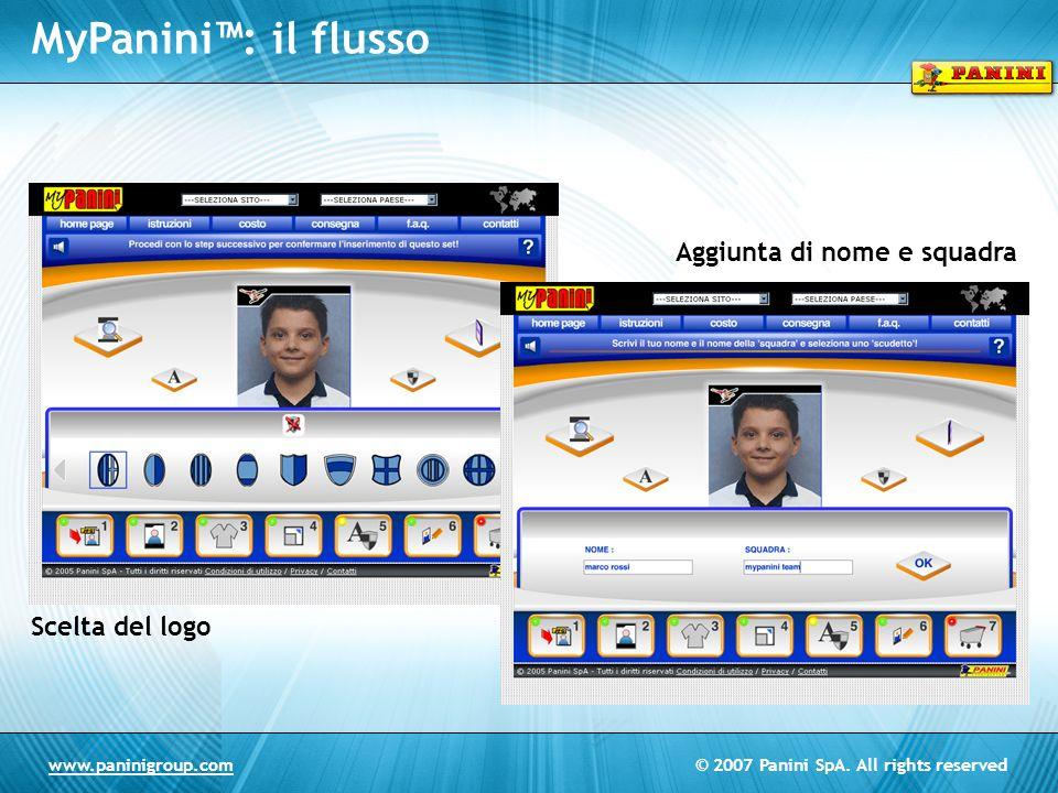 MyPanini™: il flusso Aggiunta di nome e squadra Scelta del logo