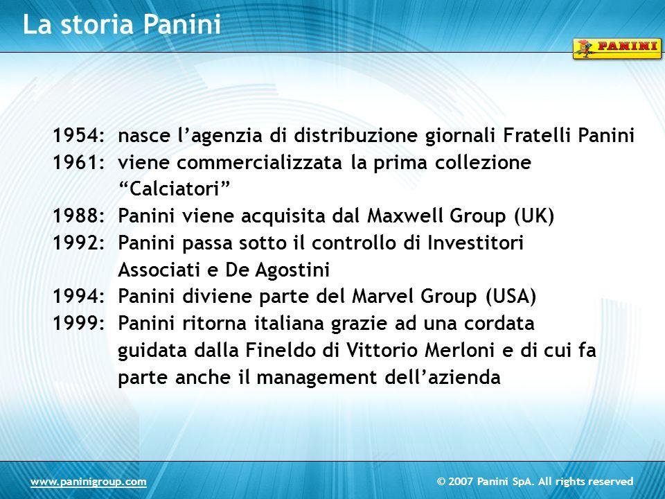 La storia Panini 1954: nasce l'agenzia di distribuzione giornali Fratelli Panini. 1961: viene commercializzata la prima collezione Calciatori