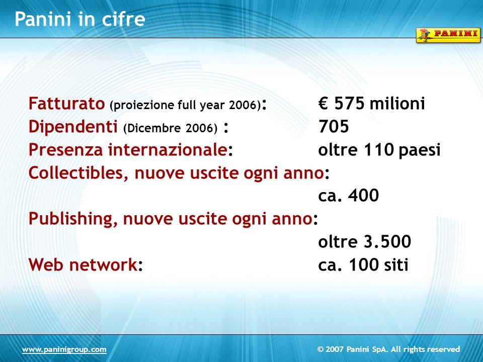 Panini in cifre Fatturato (proiezione full year 2006): € 575 milioni