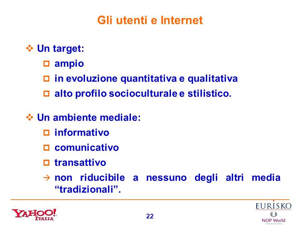 Gli utenti e Internet Un target: ampio