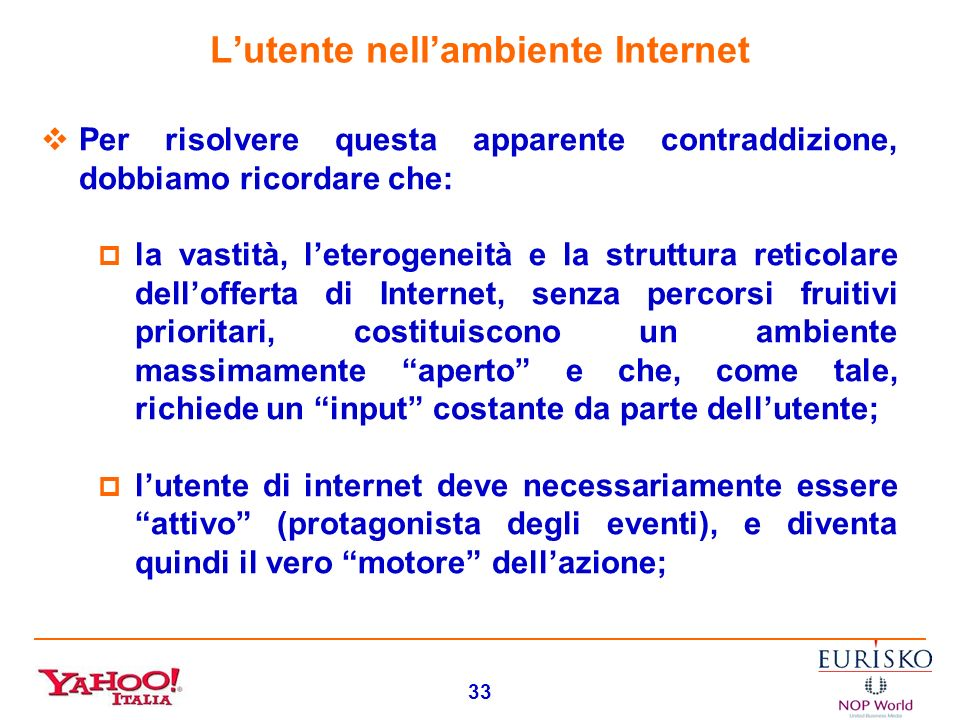 L'utente nell'ambiente Internet
