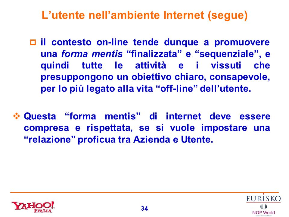 L'utente nell'ambiente Internet (segue)